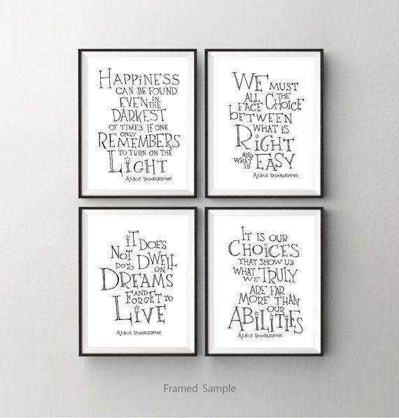 Albus Dumbledore imprimer devis ensemble de 4 - Harry Potter art print - inspirational sticker, enfants chambre décor, décor de dortoir
