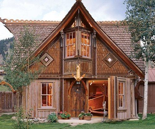 "A home and boathouse in Creede, Colorado, modeled after Norwegian stave church architecture. Designer and builder Bryan Anderson's business card reads, ""amateur architect, apprentice carpenter, journeyman designer, master of nonlinear thought."""