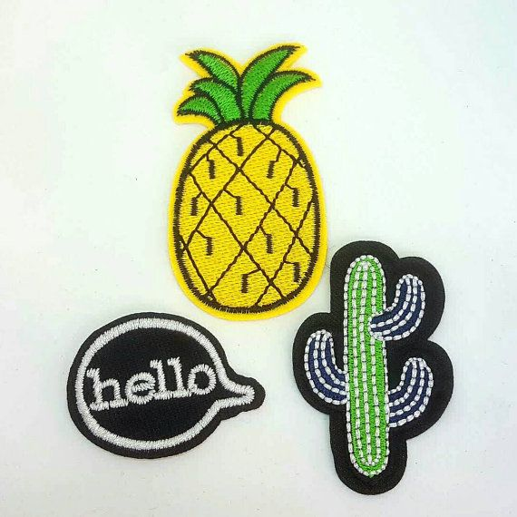 Pineapple, Cactus and Hello quote Iron On Embroidered Applique Patches, I found this really awesome Etsy listing at https://www.etsy.com/uk/listing/470214136/set-of-3-cactus-pineapple-and-hello