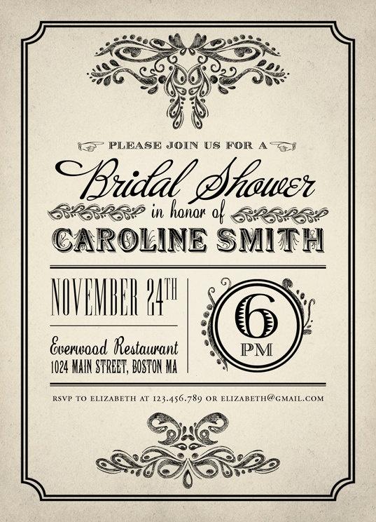 Printable Vintage Bridal Shower Invitation - Vintage Invitation. $15.00, via Etsy.