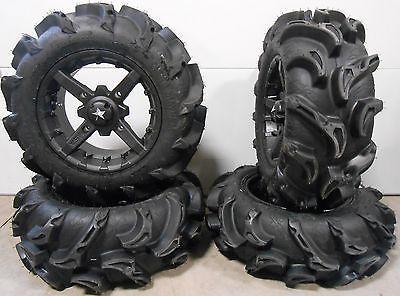 "MSA Black Battle 14"" ATV Wheels 27"" Mega Mayhem Tires Can-Am Renegade Outlander"