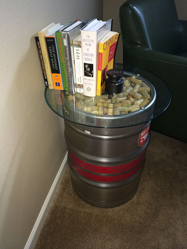 "Bought this keg. Drank that shit. Was like, ""I need an end table dog."" My homey was like ""yo let's check out Ikea."" And I was like ""no dumbass, we gonna use the keg, throw some corks on top then cover it with a glass round from Pier One; maybe some smart looking books too."" We ain't homies no mo. He couldn't keep up with my flava."