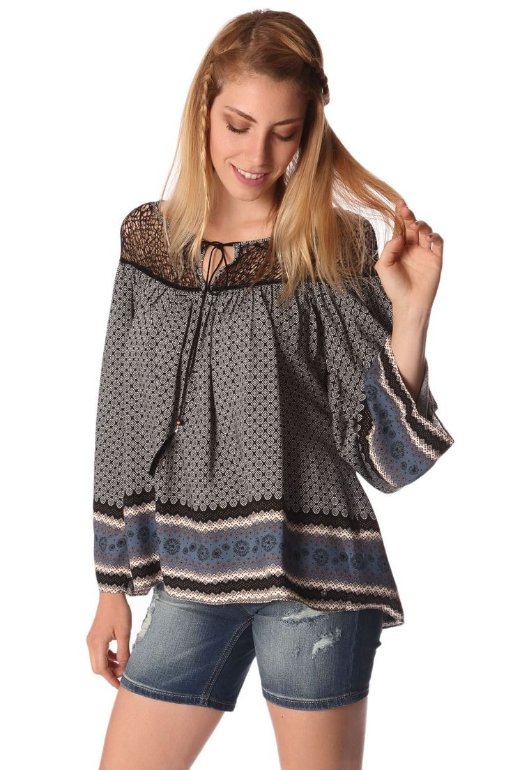 Q2 Gray Paisley Print Blouse With Cage Detail