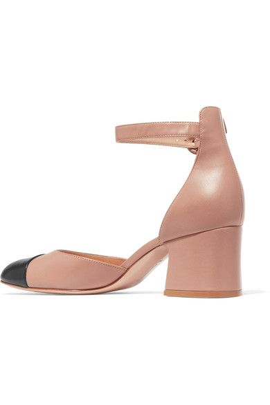 Gianvito Rossi - Two-tone Leather Mary Jane Pumps - Beige - IT38.5