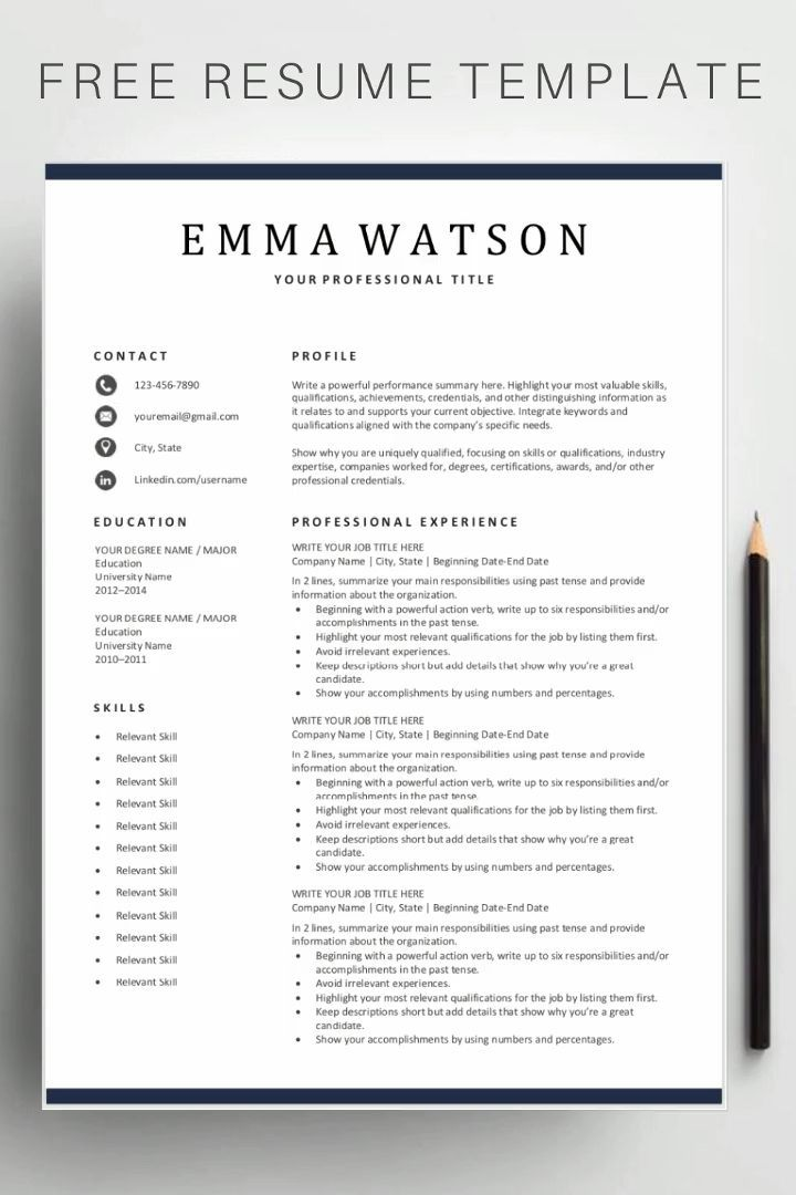 Free Simple Resume Templates In 2020 Resume Template Downloadable Resume Template Simple Resume Template