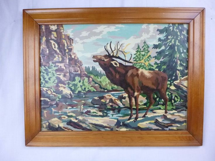 Vtg Paint By Number PBN Painting Call Of the Elk Palmer Paints 1953 Framed HUGE #Realism