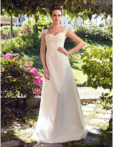 $119.99 -  A-line Princess Wedding Dress - Classic & Timeless Simply Sublime Floor-length Sweetheart Satin Tulle withAppliques,Shop for cheap Wedding Dresses online? Buy at Chinathebox.com on sale today!