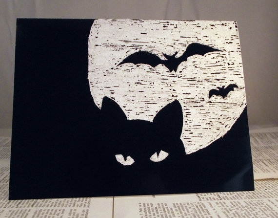 Cat with Moon and Bat Halloween Card by PaperCityCards on Etsy