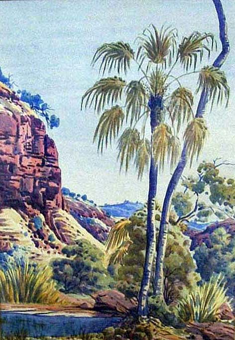 "Albert Namatjira, Ghost Gum and Ranges, circa 1950's, 17 x 80.5 cm. (tip to tip), watercolour on woomera, signed ""Albert Namatjira"" lower right and inscribed ""Aboriginal Handcraft, Hermannsburg Central Australia"" verso"