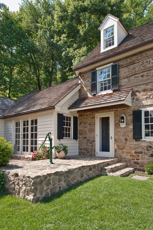 87 best stone houses images on pinterest stone houses for Farmhouse style siding