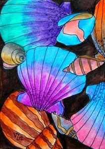 Colorful Shells: this would be a good color lesson, with emphasis on analogous colors