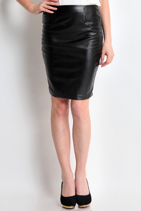 simply edgy leather skirt