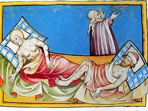 Illustration of the Black Death from the Toggenburg Bible (1411) http://simon-rose.com/books/the-heretics-tomb/historical-background/