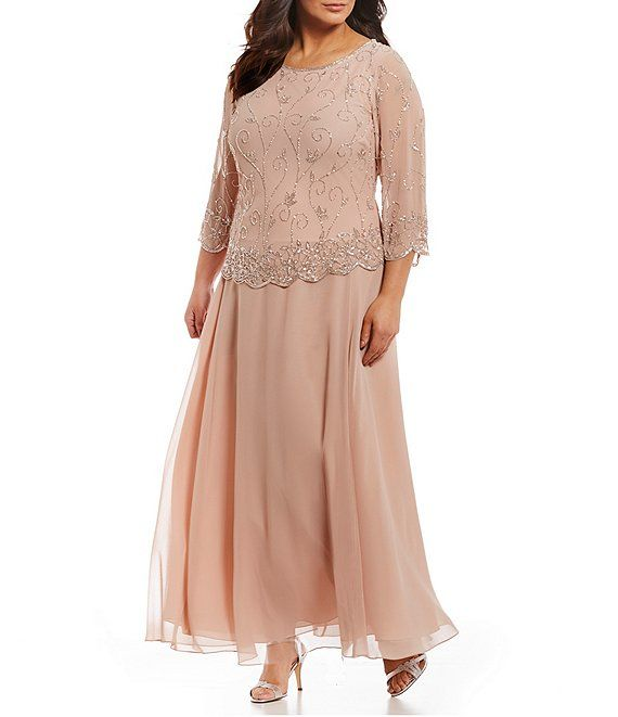 Plus Size Beaded Bodice Chiffon Gown | Evening dresses plus ...