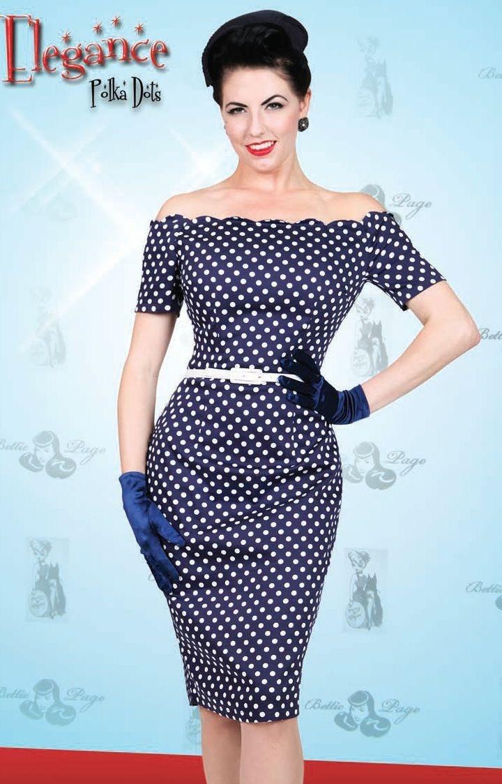 polka dot off shoulder 60 39 s wiggle dress 60 39 s fashion. Black Bedroom Furniture Sets. Home Design Ideas