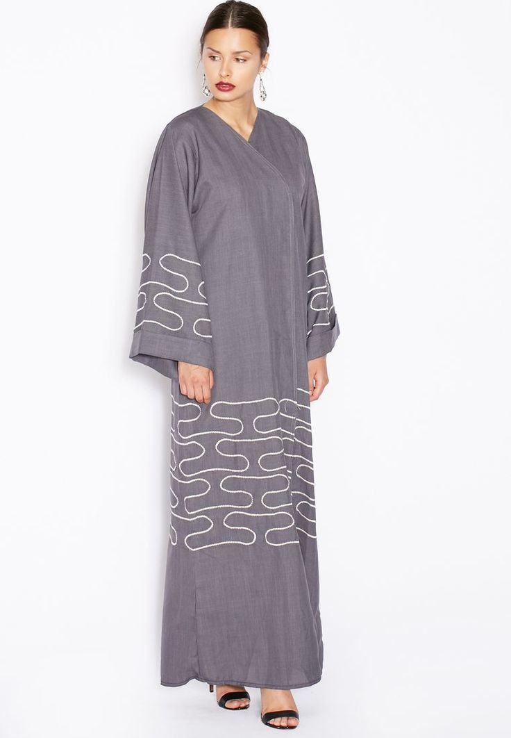 Shop grey Embroidered Trim Abaya from Hayas Closet grey at Namshi.com - Women in Saudi
