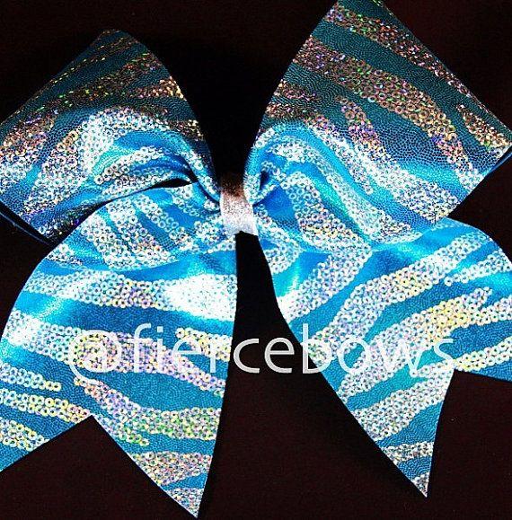 Cheer Bow via Etsy. Blue and Silver glitter zebra print