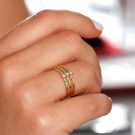 Triple band ring 14K solid gold  white by KyklosJewelryLab on Etsy