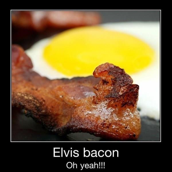 ELVIS BACON. WHAT: Bacon Elvis, Meatloaf, Hunka Hunka, Bacon Bacon, Elvis Bacon, Funny Stuff, Elvisbacon, Elvis Living, Photo