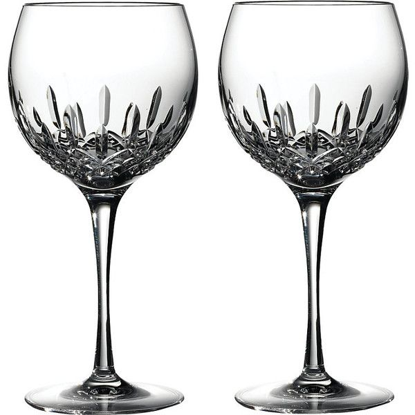 WATERFORD Lismore Essence pair of crystal balloon wine glasses ($155) ❤ liked on Polyvore featuring home, kitchen & dining, drinkware, waterford glassware, colored wine glasses, coloured wine glasses, crystal wine glass and waterford wine glasses
