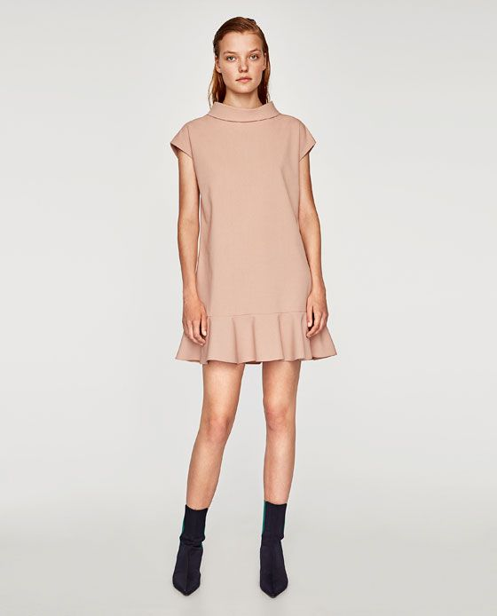 ZARA - WOMAN - STRAIGHT-CUT DRESS WITH FRILL