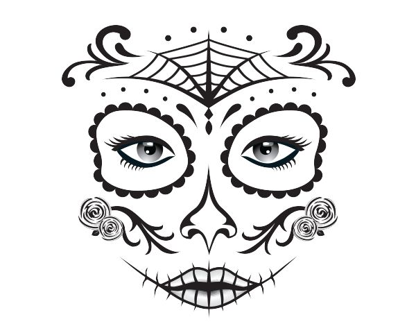 Day Of The Dead Face Paint Girl Colouring In Colour