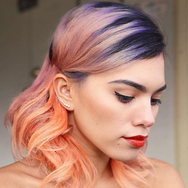 black hair with rose blonde ombre