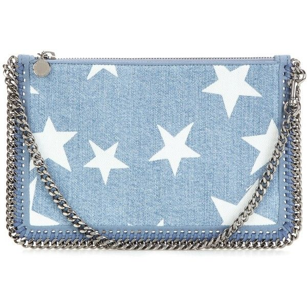 Stella McCartney Falabella Printed Denim Clutch (£375) ❤ liked on Polyvore featuring bags, handbags, clutches, blue, blue clutches, stella mccartney, blue handbags, blue purse and denim handbags