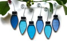 Stained Glass Blue Christmas Lights - Set of 6 Window Ornaments Suncatchers Holiday Decoration