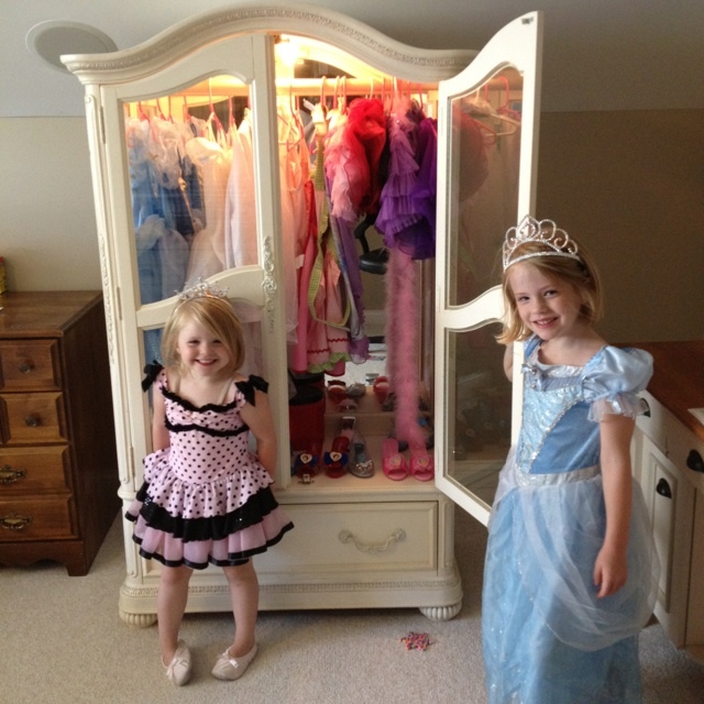 garage sale armoire turned into a dress up center with a simple wooden dowel get crafty. Black Bedroom Furniture Sets. Home Design Ideas