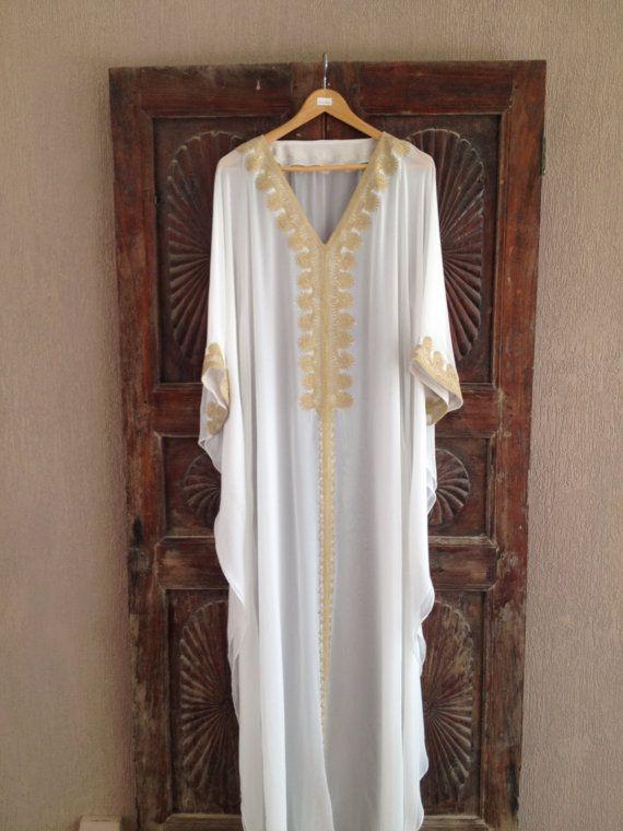 Witte caftan strand bruiloft kaftan zijden jurk