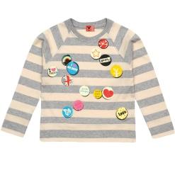 Girls Long Sleeve Grey & Vanilla Jumper - Girl Badges - no added sugar