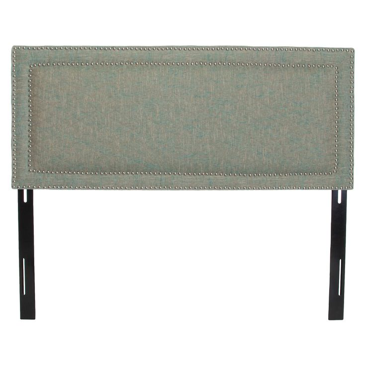 Villa Fabric Headboard with Double Studded Accents Vapor Blue (Queen/Full) - Christopher Knight Home