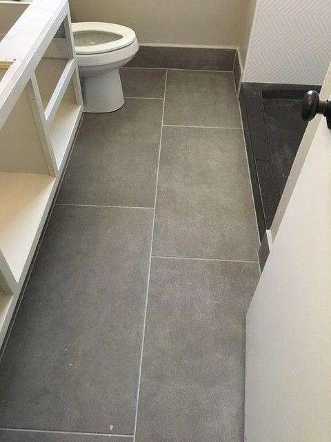 large floor tiles in a small bathroom really makes an impact dom antracita porcelain wall - Bathroom Floor Tiles