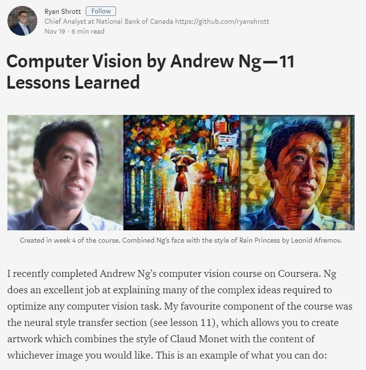 Computer Vision by Andrew Ng — 11 Lessons Learned – Towards Data Science