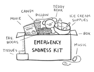 Emergency sadness kit.  I must assemble these items for future sadness!