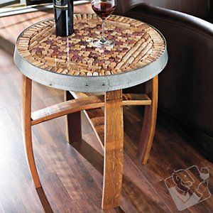 I would love to be able to make one of these! So cool!  Barrel Stave Cork Kit Table at Wine Enthusiast - $369.00