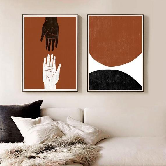 Set Of 2 Burnt Orange Art Print Mid Century Modern Wall Art Etsy In 2020 Orange Art Mid Century Modern Art Print Etsy Wall Art
