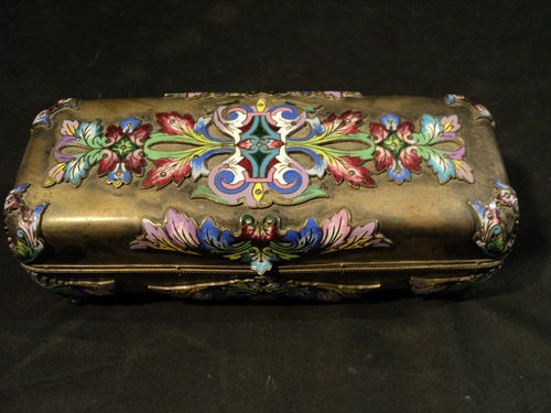 UNUSUAL 19th C. FRENCH CHAMPLEVE ON SILVER GLOVE BOX or JEWELRY CASKET