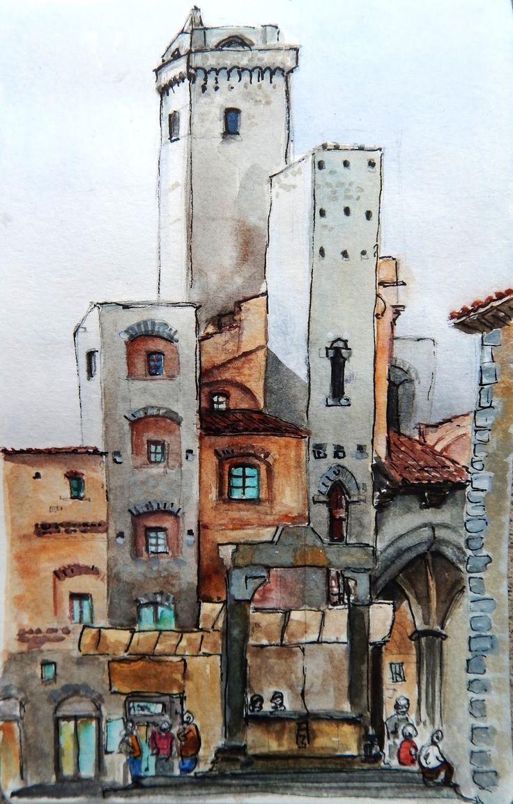 Urban Sketchers Italy: Siena e San Gimignano, il primo posting