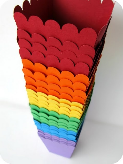 rainbow popcorn boxes...they would be so cute with theme colors!!