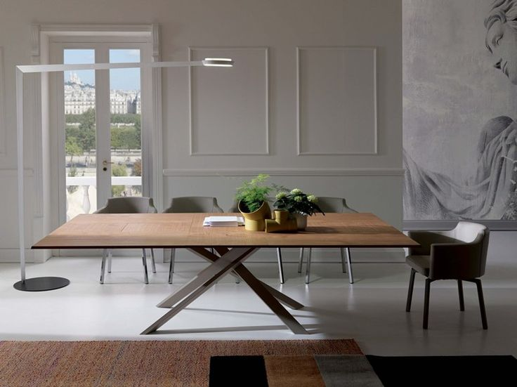 Mesa extensível retangular de madeira 4X4 by Ozzio Italia design Giulio Manzoni