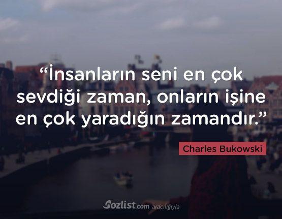 """""""İnsanların seni en çok sevdiği zaman, onların işine en çok yaradığın zamandır."""" #charles #bukowski #sözleri #yazar #şair #kitap #şiir #özlü #anlamlı #sözler"""