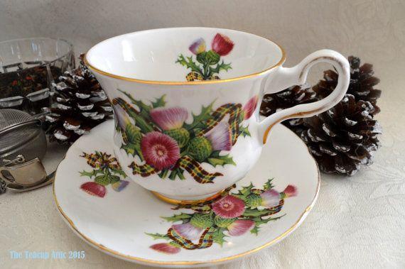 Royal Grafton Thistleflower and Tartan Teacup by TheTeacupAttic