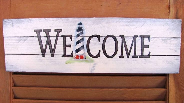 Cape Hatteras Lighthouse Welcome Sign Wood 3 Slat Coastal OBX Nautical Decor #Noontidings #Nautical