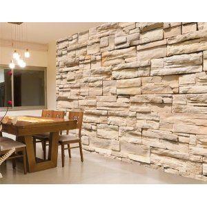 Fototapete Steinwand - Größe 400 x 280 cm, 8-teilig: Amazon.de: Küche & Haushalt
