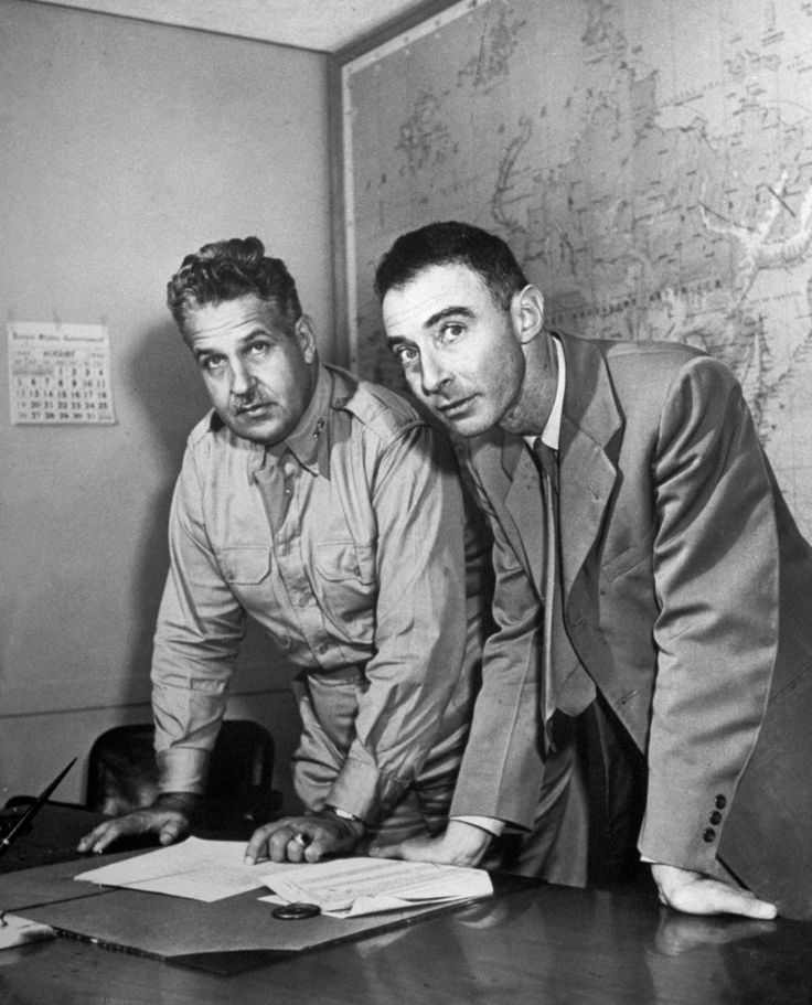 Brig. Gen. Leslie R. Groves and J. Robert Oppenheimer working on the Manhattan Project.