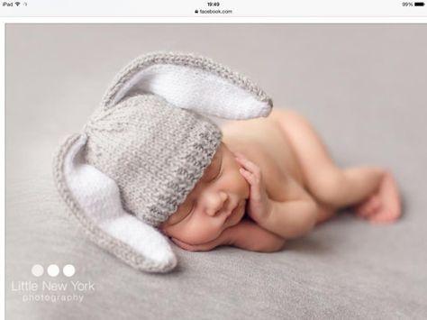 Prop foto recién nacido, sombrero de conejo recién nacido / bebé, accesorios de fotografía, muchacho recién nacido, muchacha recién nacida, sombrero recién, tejidos de punto sombrero, apoyos recién, sombrero del bebé