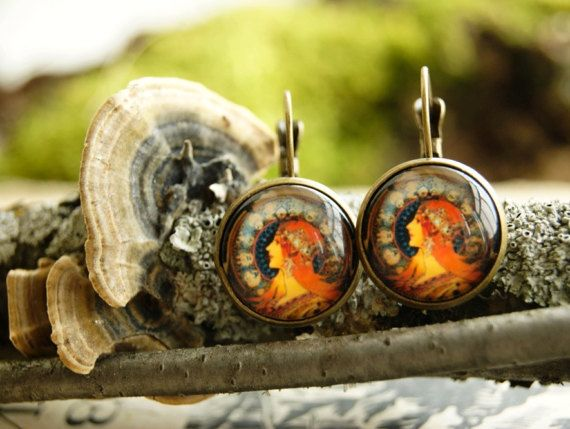 A.Mucha Ar nouveau french lock earrings Glass by InviolaJewerly