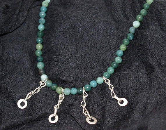 Green Agate Necklace Unique Necklace Bohemian Design